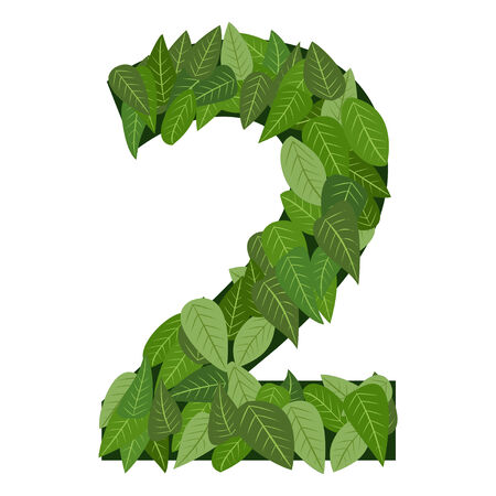 数 2 緑を葉します。
