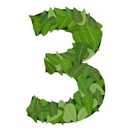 番号 3 の緑葉します。  イラスト・ベクター素材
