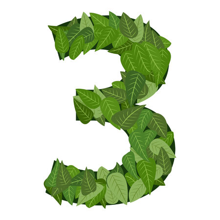 number 3 with green leafs Vector
