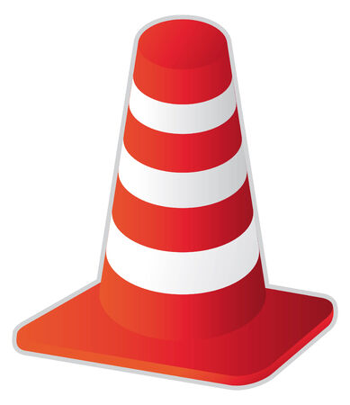 hazard stripes: road stripped cone in vector mode Illustration