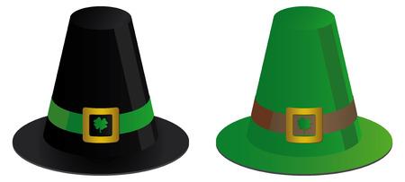 arrozal: dos sombreros irland�s con tr�boles  Vectores