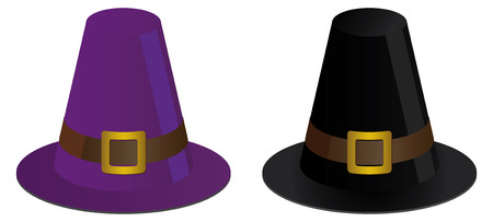 two pilgrims hats for thanksgiving Vector