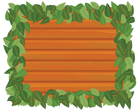wood and leaf frame in vector mode