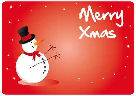happy snowman for xmas season, in red colors Vector
