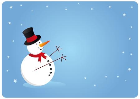 season: blue snowman card for xmas season, happy holidays Illustration