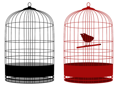 two cages one with bird Vector