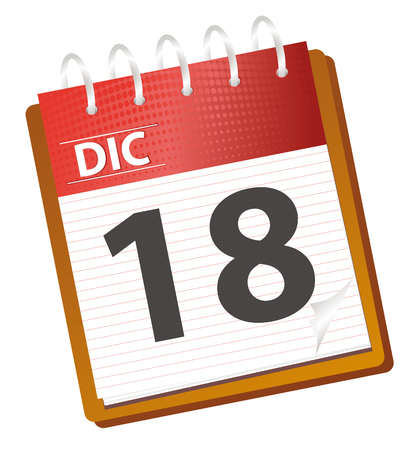 december kalender: kalender december in rode toner- en vector modus  Stock Illustratie