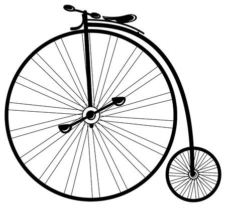 objects: vintage bike high wheel in vector mode