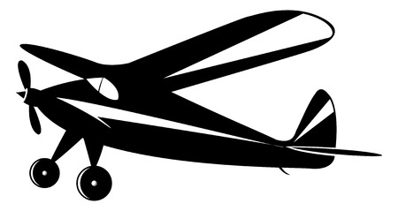vintage airplane in black and white toner, vector mode Vector