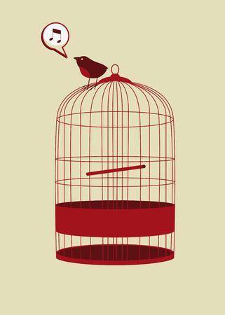 bird in cage singing in vector mode Vector