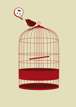 bird in cage singing in vector mode
