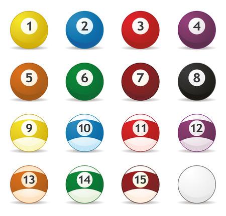 se of billard balls in vector mode Illusztráció