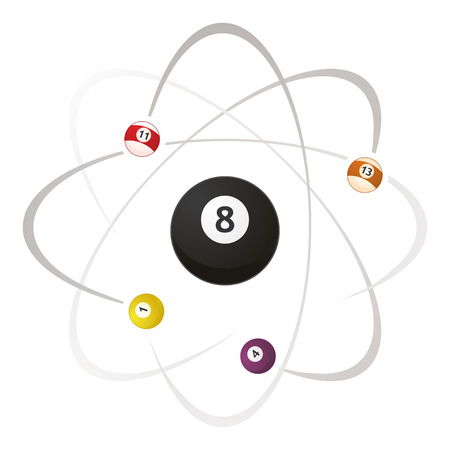 fun billards atoms, pool science, in vector
