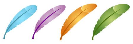 a poet: conjunto de plumas de color en modo vectorial