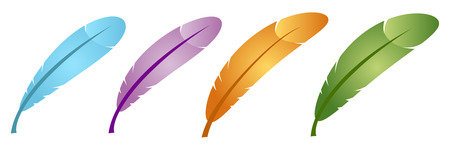poet: set of color feather in vector mode