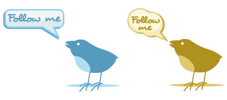 two birds with follow me cloud for chat Vector