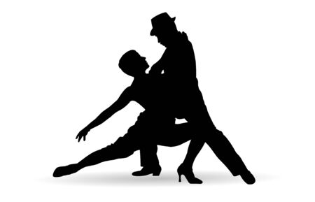 two tango dancers passion on the floor Vector