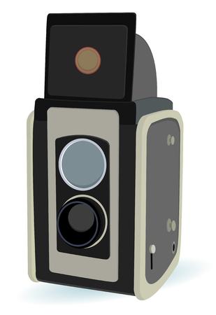 Vintage Kamera mit zwei objektiv im Vektor-Modus Standard-Bild - 6111608