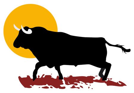 bull and sun of south of spain, in vector mode