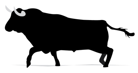 black bul in vector mode, spanish bullfigth Ilustrace