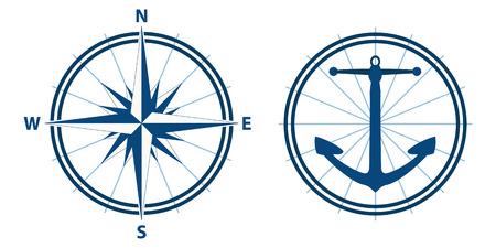 kompas en anker in blauw tinten, vector modus