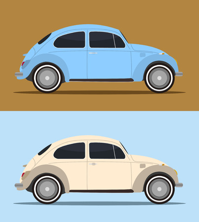 time drive: pair of vintage bug cars in vector mode