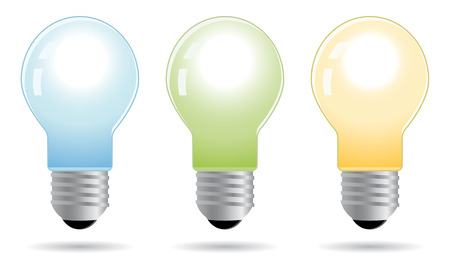 a solution tube: set of color bulbs in vector mode