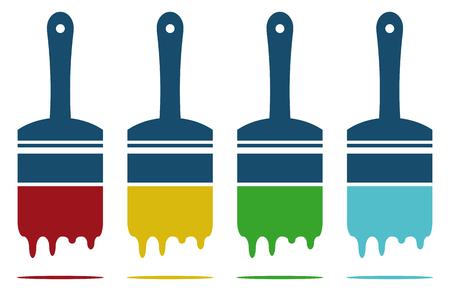 vier kleuren verf borstels in kleur vector modus
