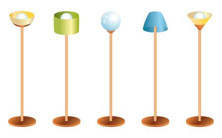 set of color retro lamps