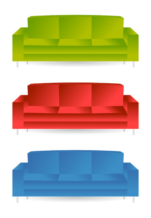 set of color sofas in  mode Vector