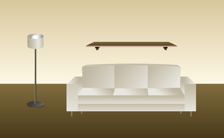 modern living room: room in  mode with sofa lamp and shelf