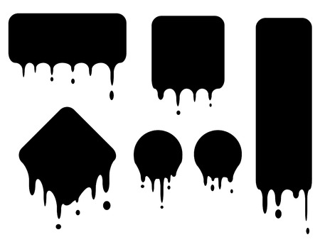 set of black dropping shapes in vector mode Vector
