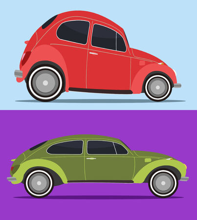 set of two vintage car in cool colors Vector