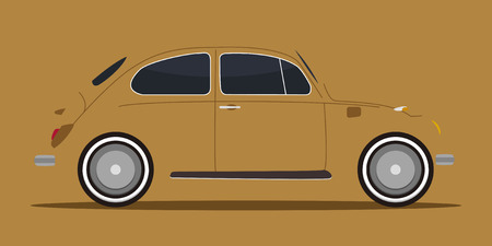 shadow or silhouette of vintage car in vector mode
