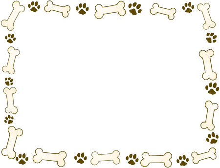 foot prints: bone and paw frame in sepia tones