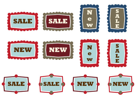 vintage tags with new and sale tex, in Stock Vector - 6559054