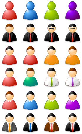 buddies: set of icons of buddies, colors and clothes Illustration