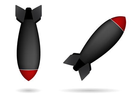 nuclear bomb: conjunto de dos bombas de cohete  Vectores