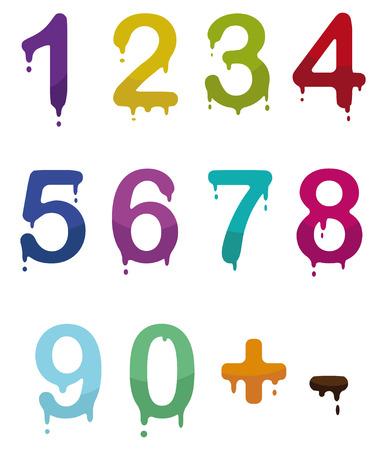 set of color drop numbers  Vector