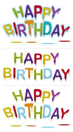 set of three happy birthday signs  Stock Vector - 6596056