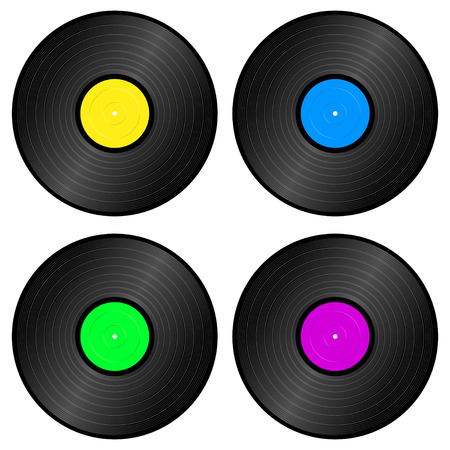 disk jockey: set of four color vintage vinyl records Illustration