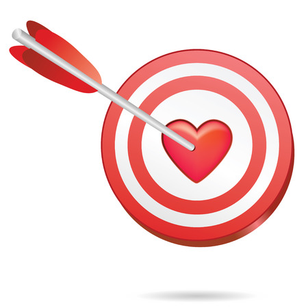 love target in one red heart, perfect match Ilustrace