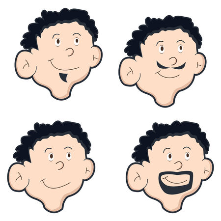 set of four mens face with different style Stock Vector - 6730041