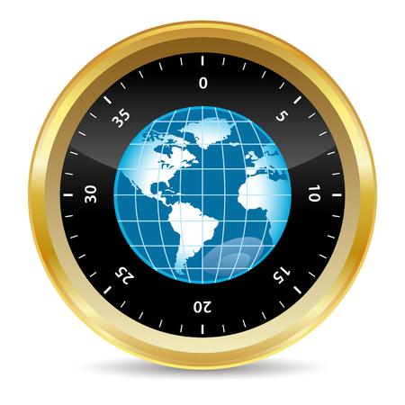 Monde dans un coffre de sécurité en effet 3d  Banque d'images - 6730040