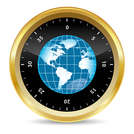 security icon: world in security safe box in 3d effect