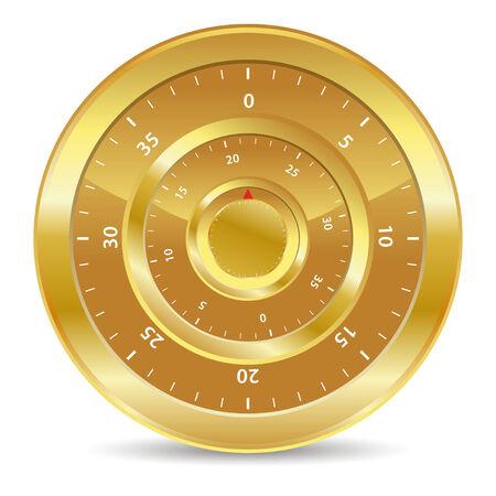 cajas fuertes: cerradura de combinaci�n de oro para los valores de seguros  Vectores