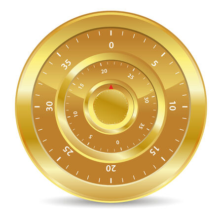 combination lock: gold combination lock for safe values Illustration