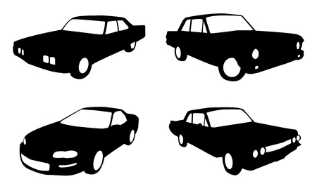 set of four car in silhouette form in black and white Vector