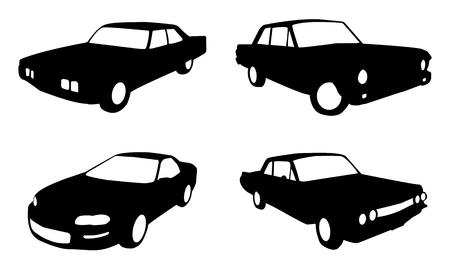 auto illustratie: set van vier auto in silhouet vorm in zwart-wit