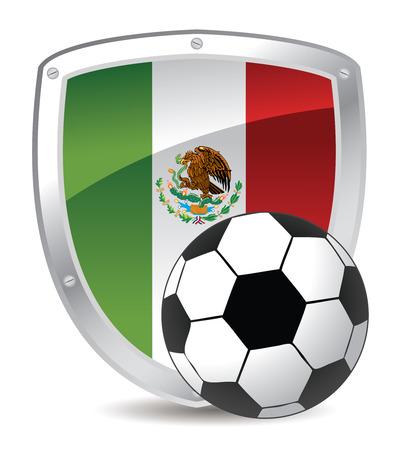 drapeau mexicain: indicateur de balle et Mexique soccer dans le bouclier  Illustration